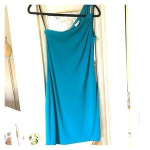 Teal Embellished One Shoulder Calvin Klein Dress